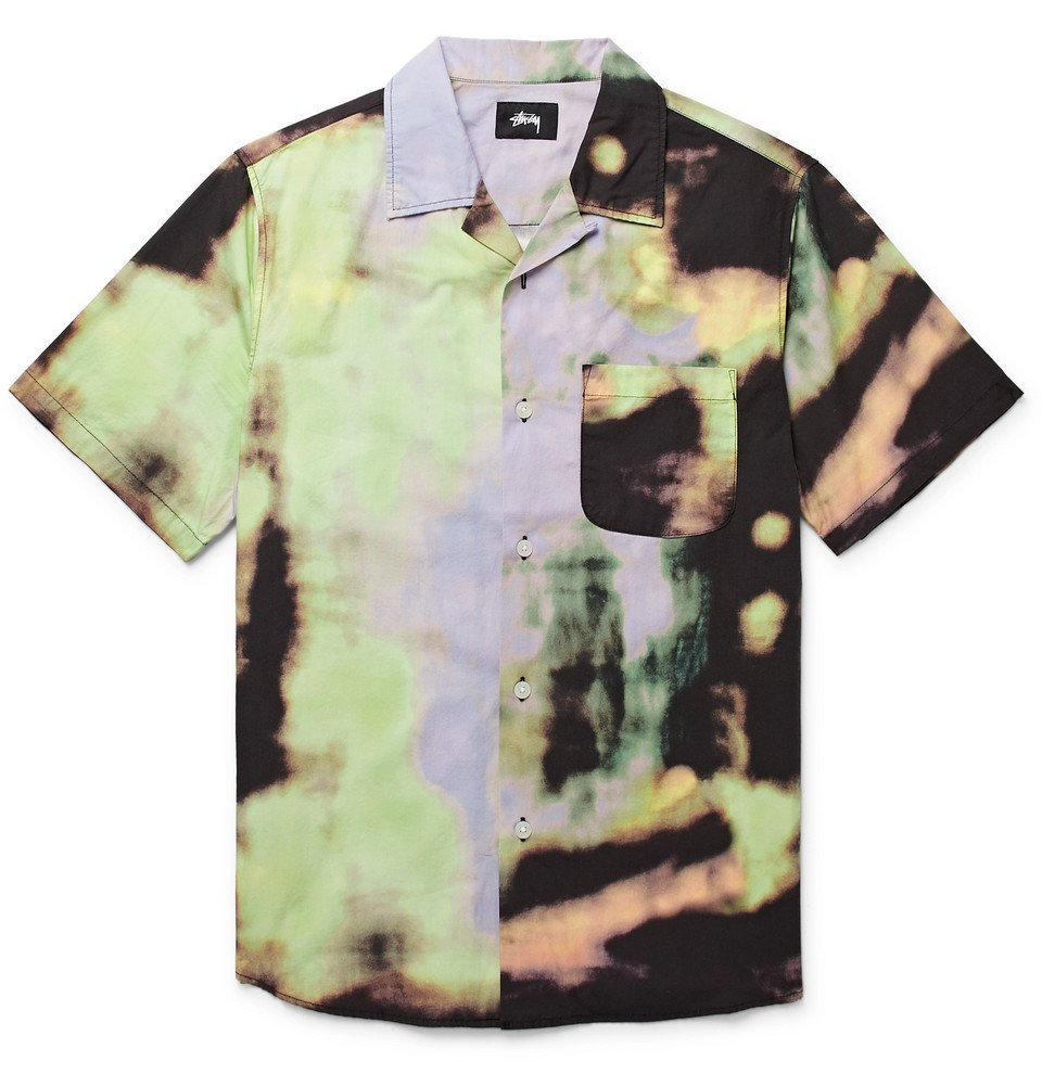 Photo: Stüssy - Leary Camp-Collar Tie-Dyed Brushed-Cotton Shirt - Multi