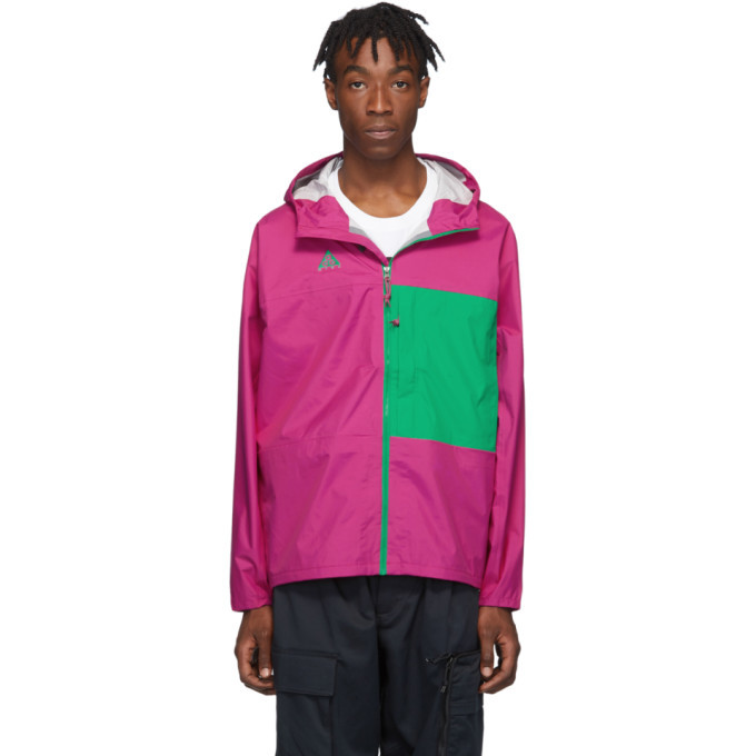 Photo: Nike Pink and Green ACG Packable Rain Jacket