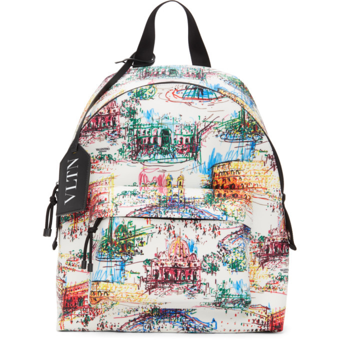 Photo: Valentino White Valentino Garavani VLTN Monuments Backpack