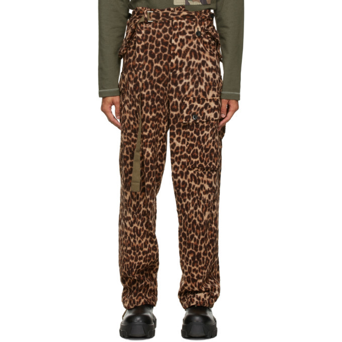 Sacai Brown Wool Leopard Solid Shrivel Trousers