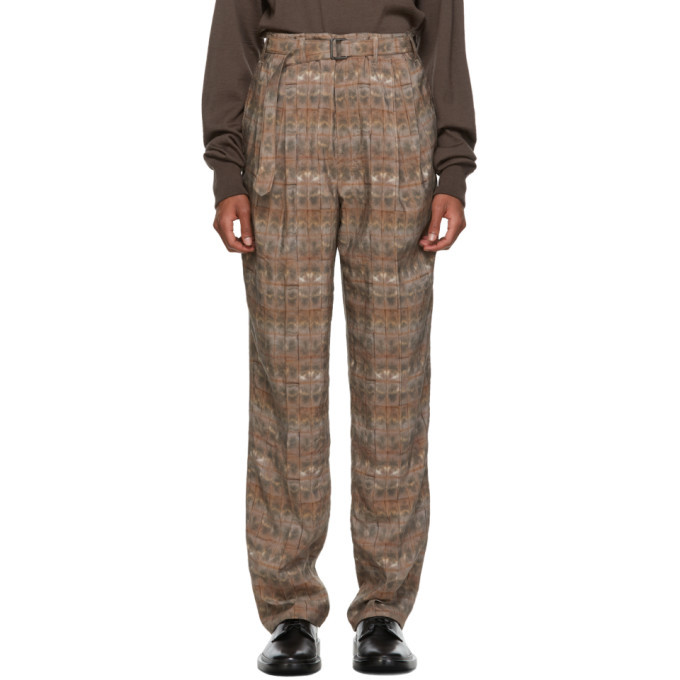 Photo: Lemaire Brown and Beige Belted Pleats Trousers