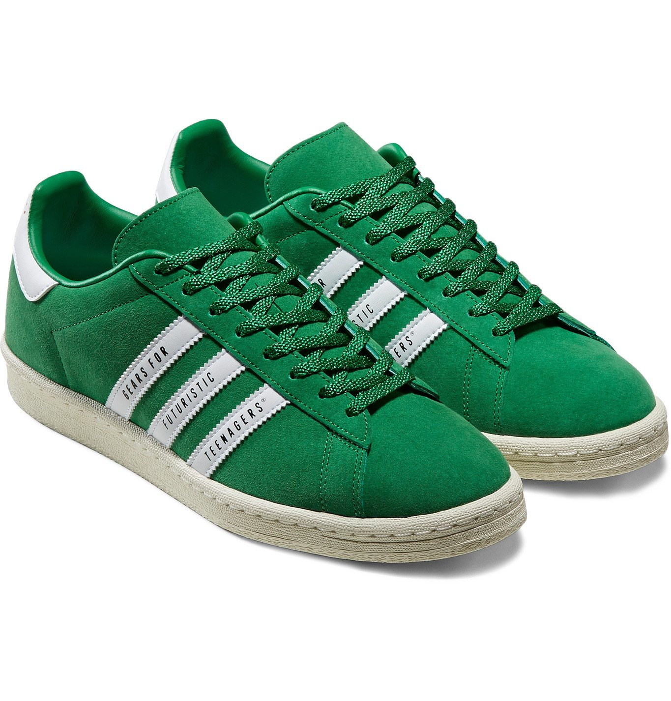 Photo: adidas Consortium - Human Made Campus Leather-Trimmed Suede Sneakers - Green