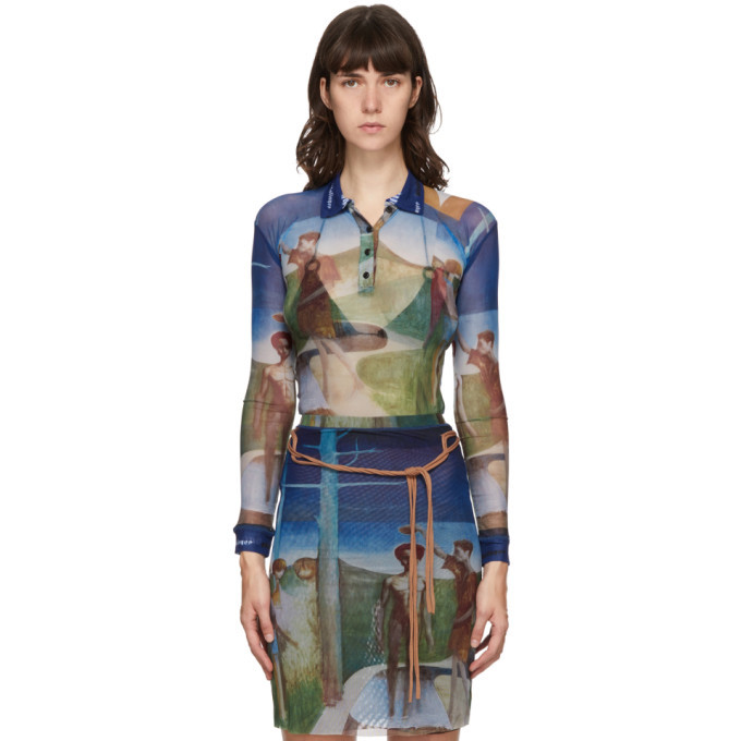 Photo: Ottolinger Multicolor Mesh Julien Nguyen Print Long Sleeve Polo