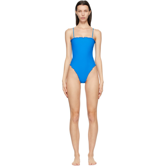 Photo: Sherris Blue Ruffle Tank One-Piece Swimsuit