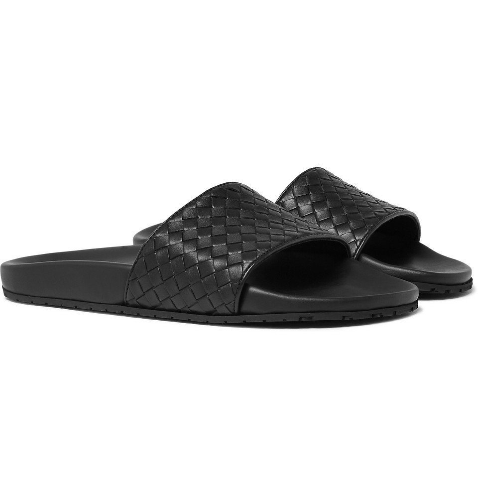 Bottega Veneta - Intrecciato Leather Slides - Men - Black
