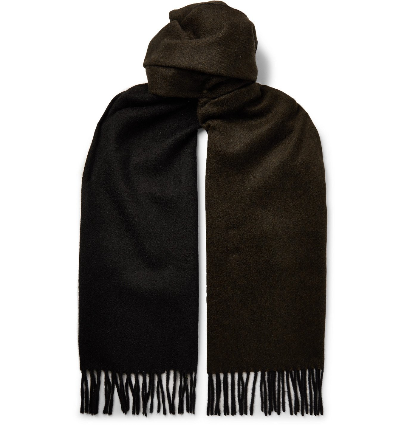 Photo: TOM FORD - Fringed Two-Tone Double-Faced Cashmere Scarf - Green