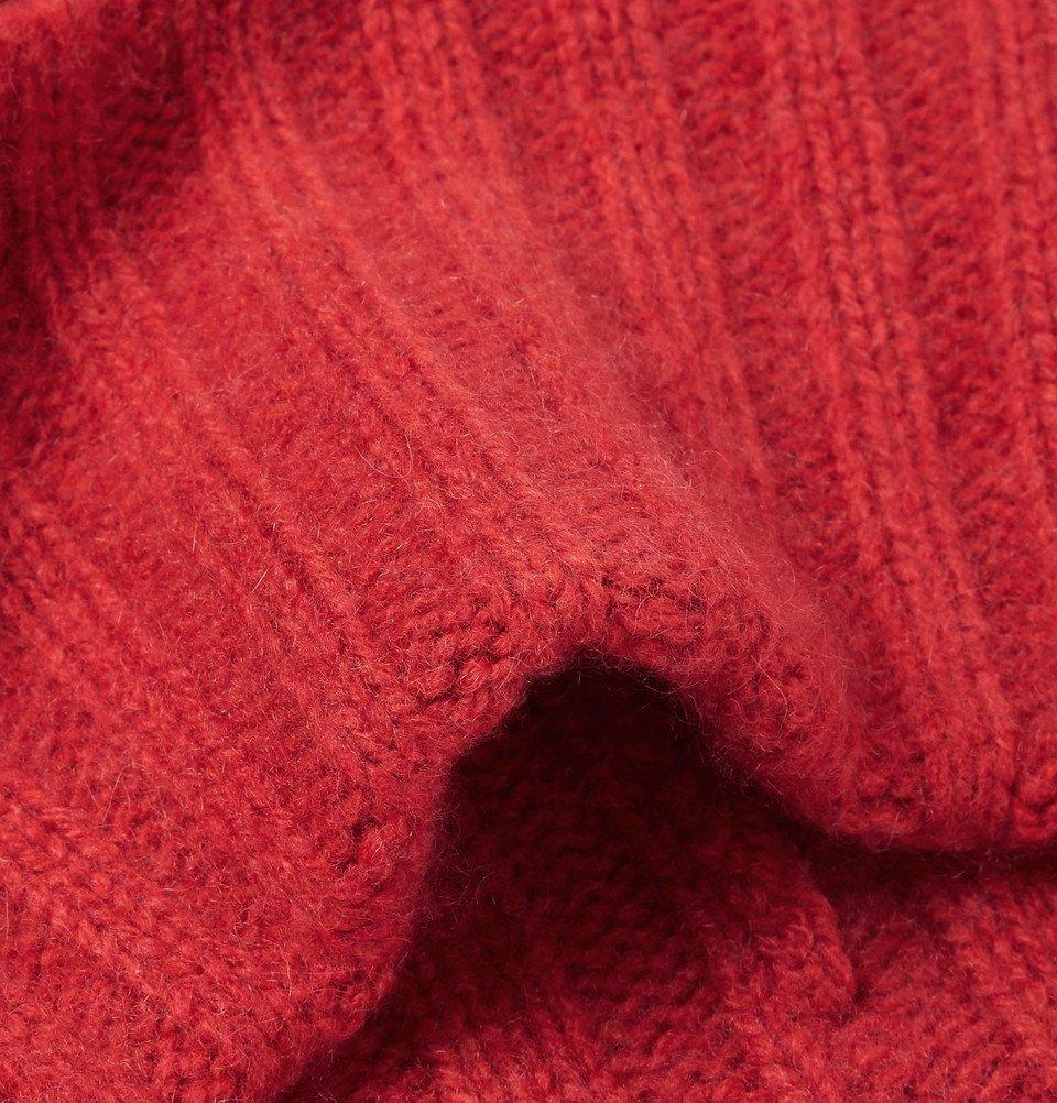 The Elder Statesman - Short Bunny Echo Ribbed Cashmere Beanie - Tomato red