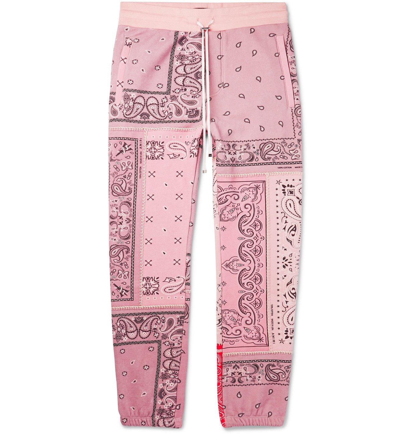 Photo: AMIRI - Tapered Bandana-Print Cotton-Jersey Drawstring Sweatpants - Pink