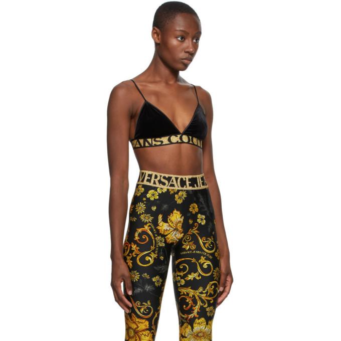 Versace Jeans Couture Black Velvet Triangle Bra