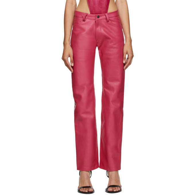Photo: Mowalola Pink Leather Suit Trousers