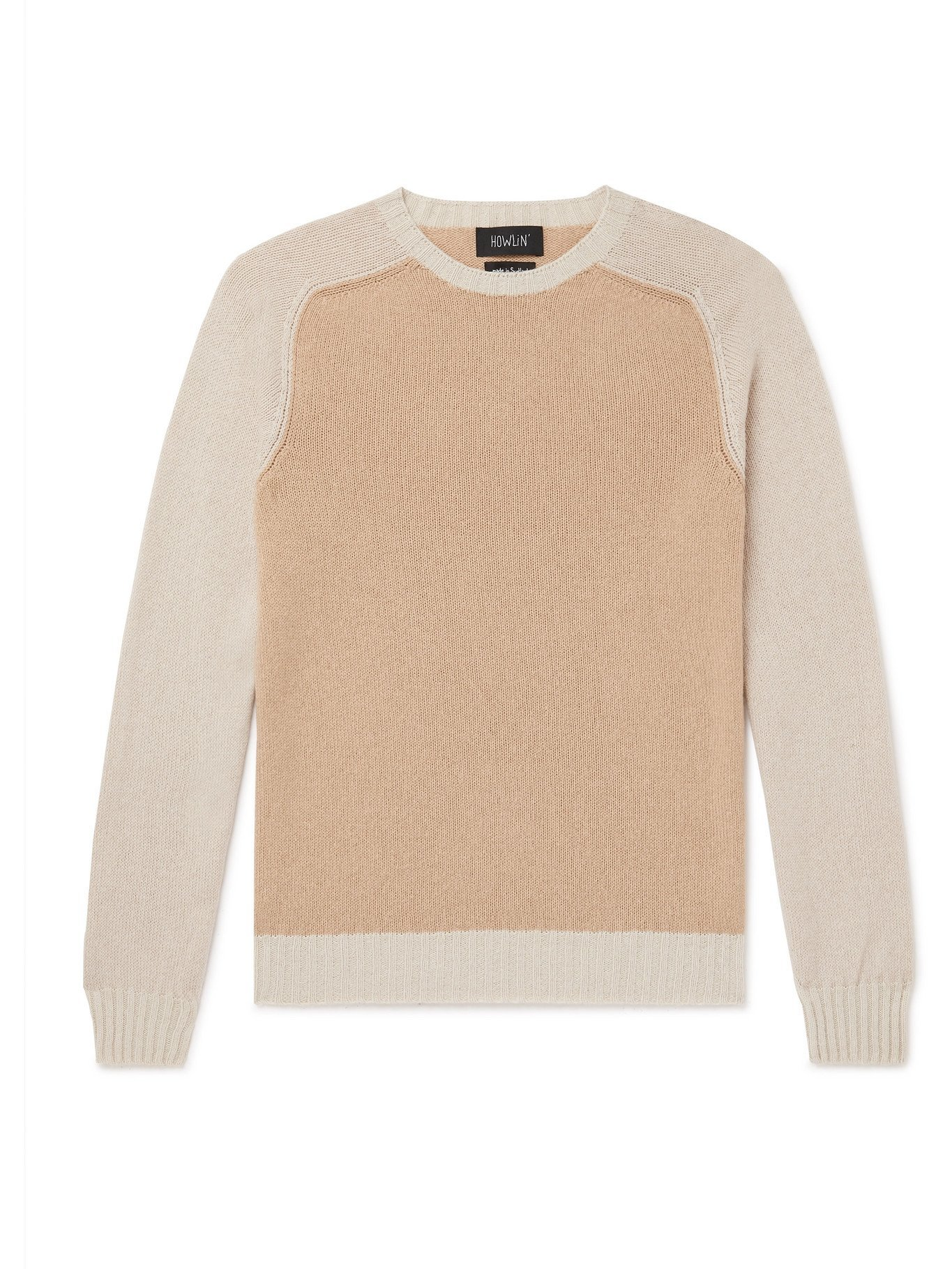 Photo: HOWLIN' - Colour-Block Wool and Cotton-Blend Sweater - Neutrals - S