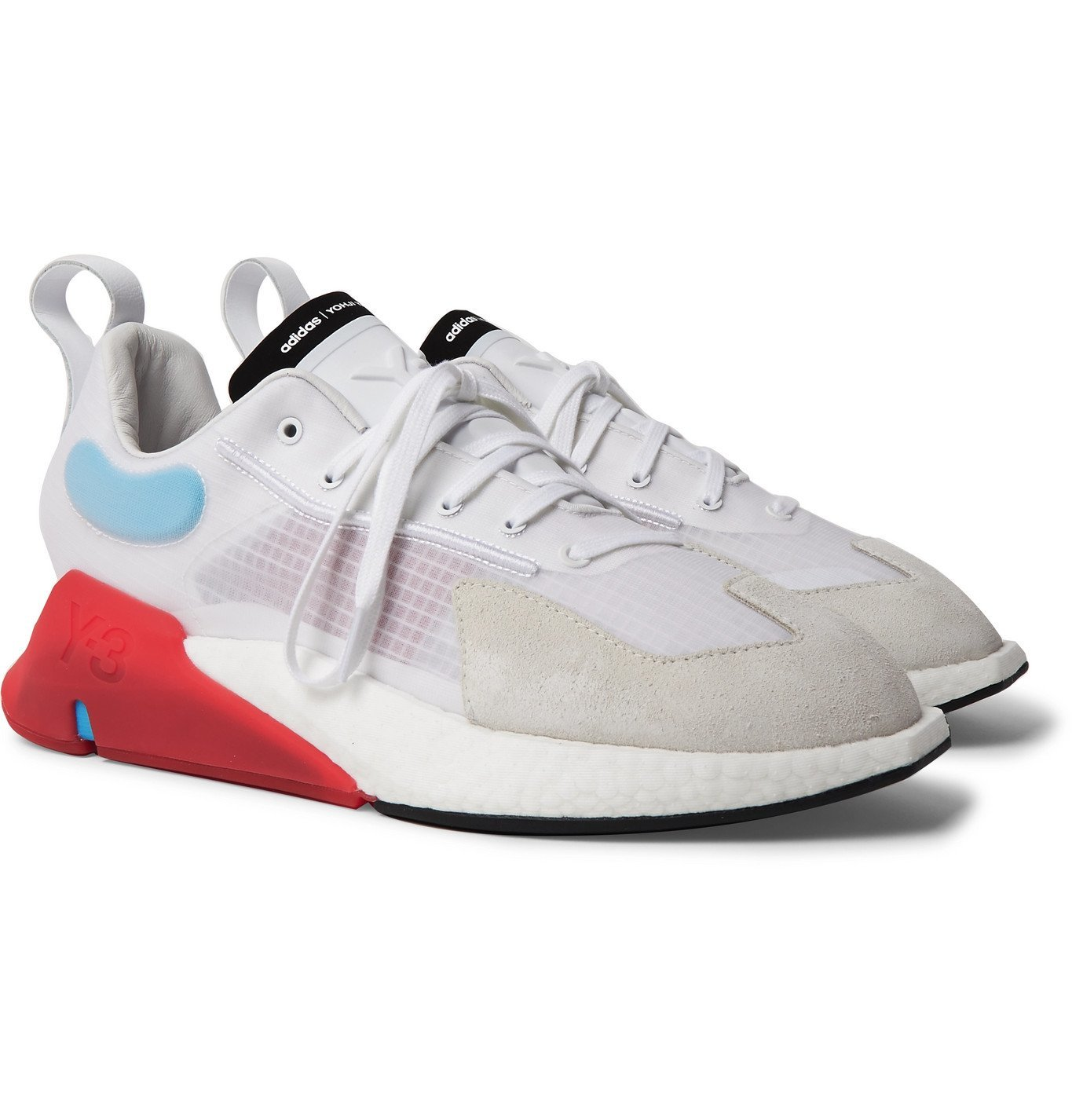 Photo: Y-3 - Orisan Suede and Leather-Trimmed Ripstop Sneakers - White