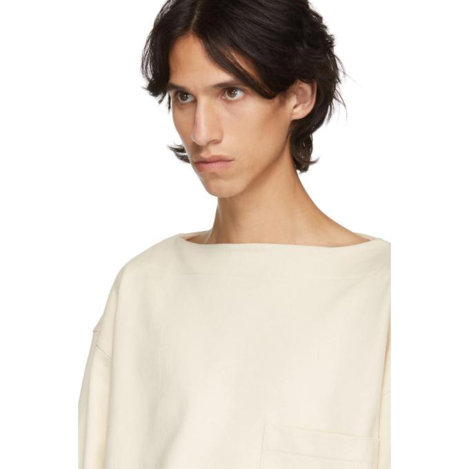Lemaire White Organic Mariniere Sweatshirt
