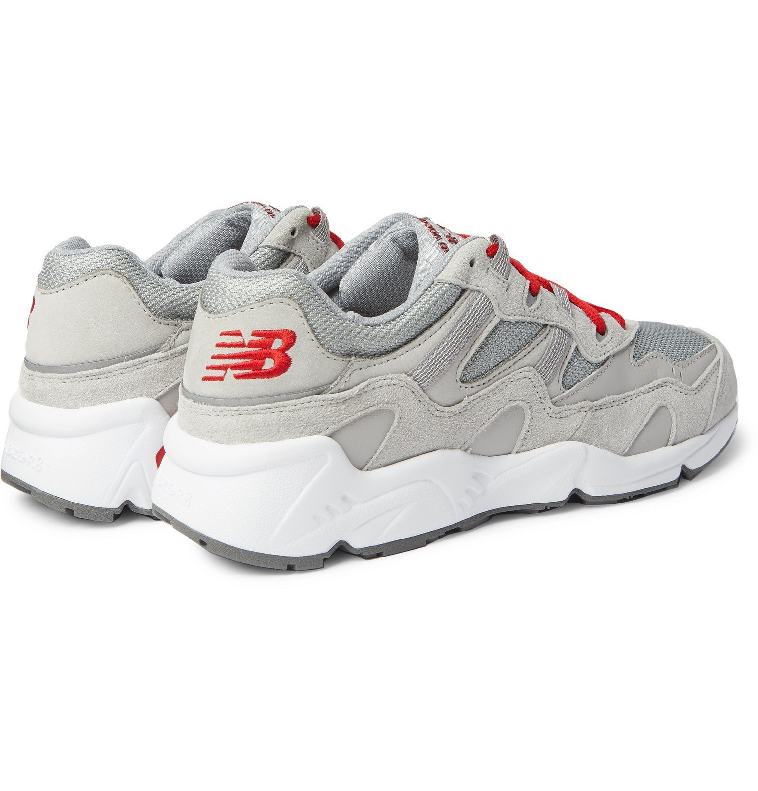 New Balance - No Vacancy Inn ML850 Webbing-Trimmed Suede, Leather and Mesh Sneakers - Gray