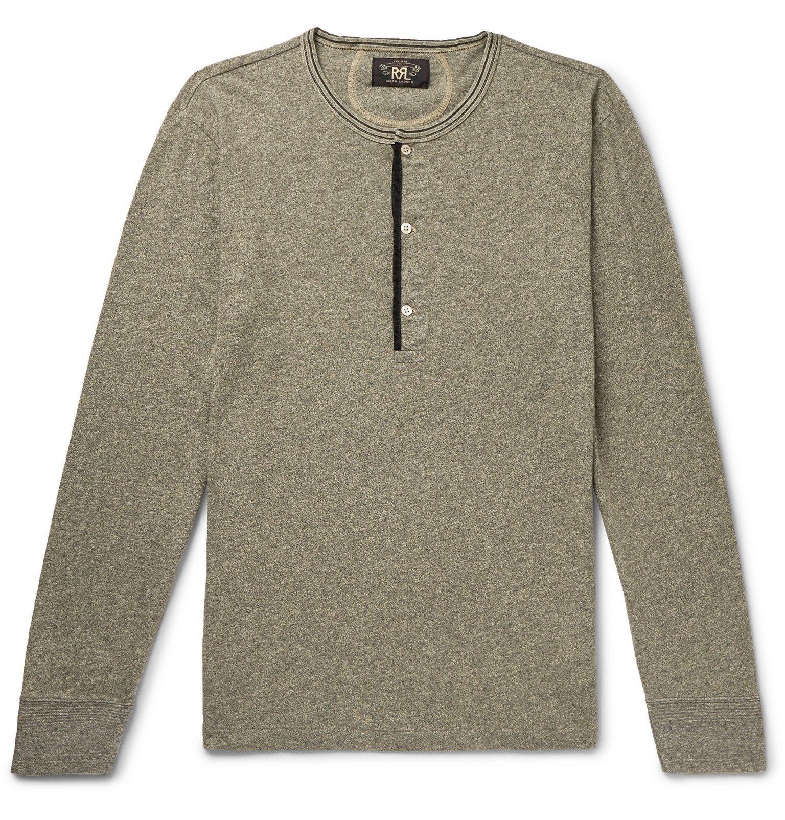 RRL - Slim-Fit Mélange Cotton-Jersey Henley T-Shirt - Gray