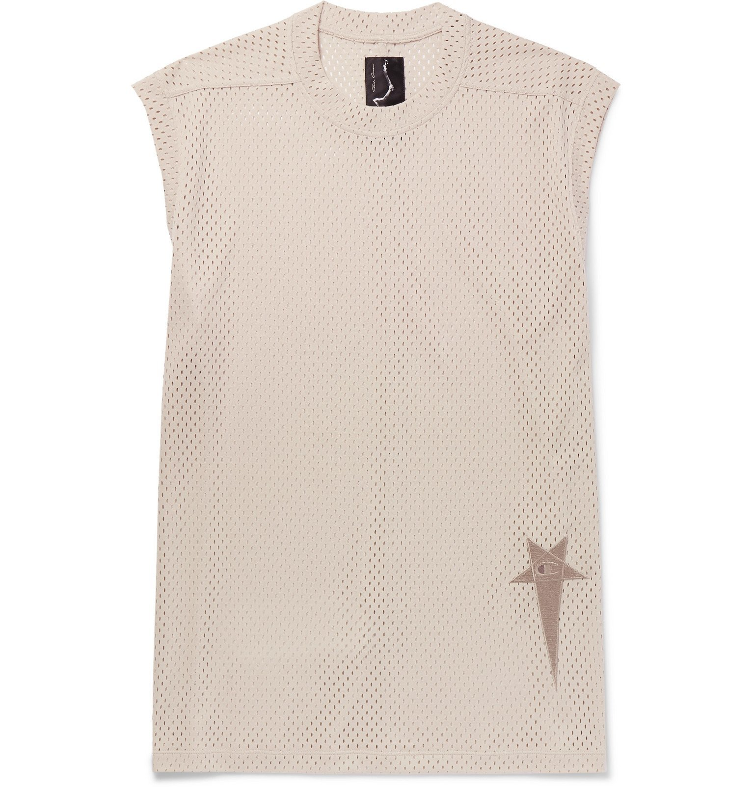 Photo: Rick Owens - Champion Logo-Embroidered Mesh Tank Top - White