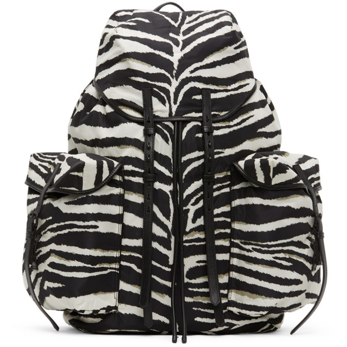 Photo: Dries Van Noten Black and White Canvas Backpack