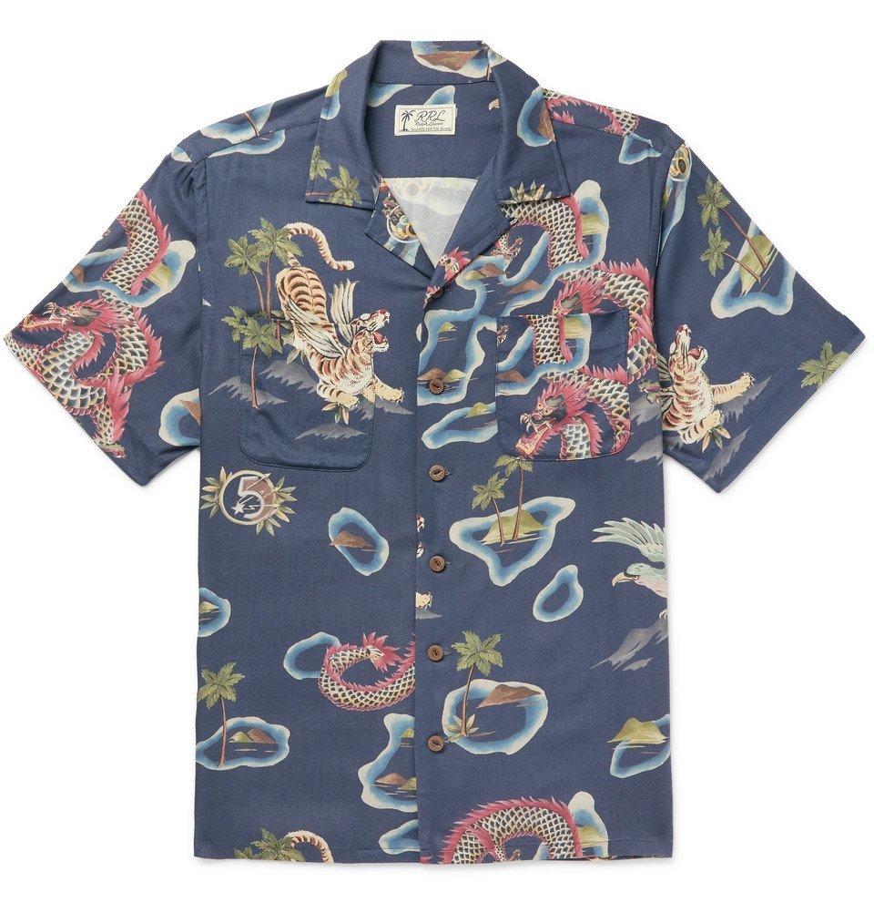 RRL - Slim-Fit Camp-Collar Printed Woven Shirt - Indigo