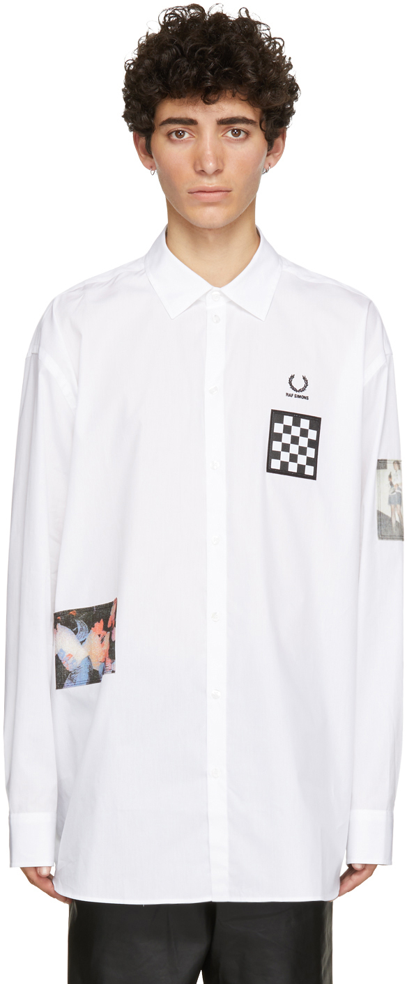Photo: Raf Simons White Fred Perry Edition Oversized Printed Patch Shirt