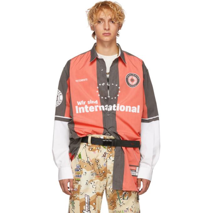Photo: Vetements Red and Grey Football Shirt