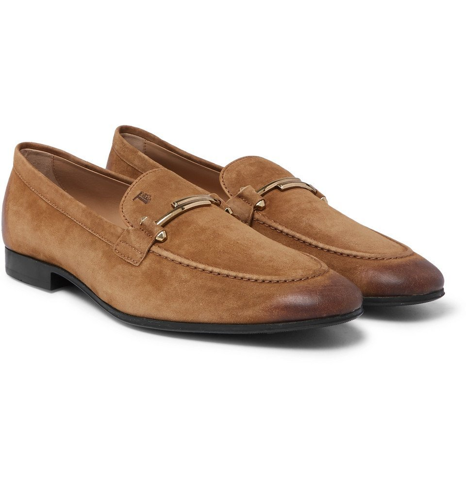 Tod's - Burnished-Suede Loafers - Men - Light brown