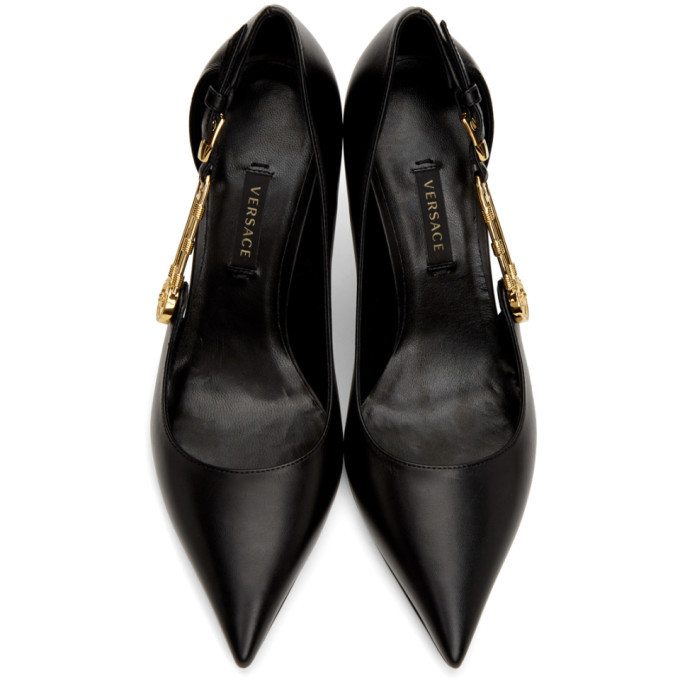 Versace Black Medusa Safety Pin Heels