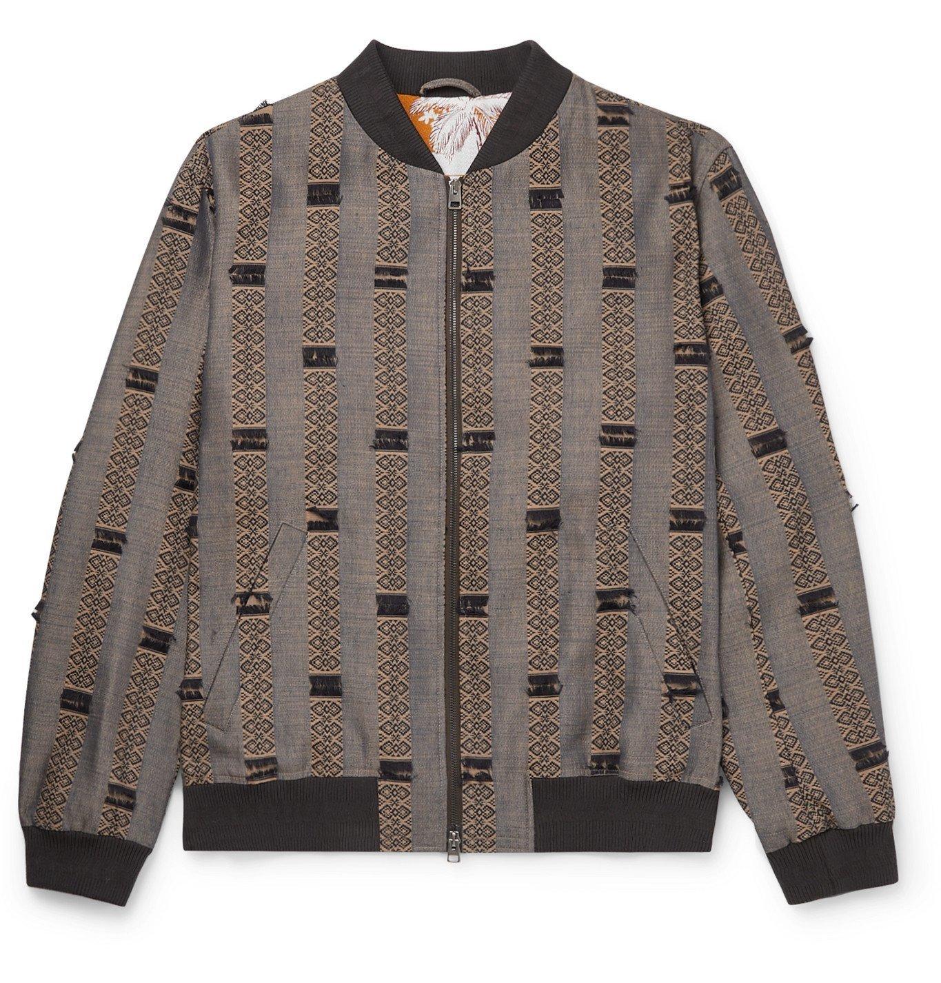 Photo: Etro - Wool and Silk-Blend Jacquard Bomber Jacket - Gray