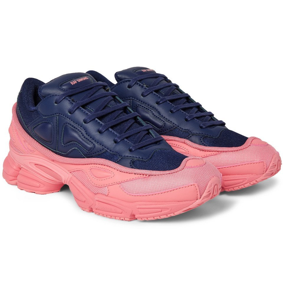 Raf Simons - adidas Originals Ozweego Mesh and Leather Sneakers - Men - Navy