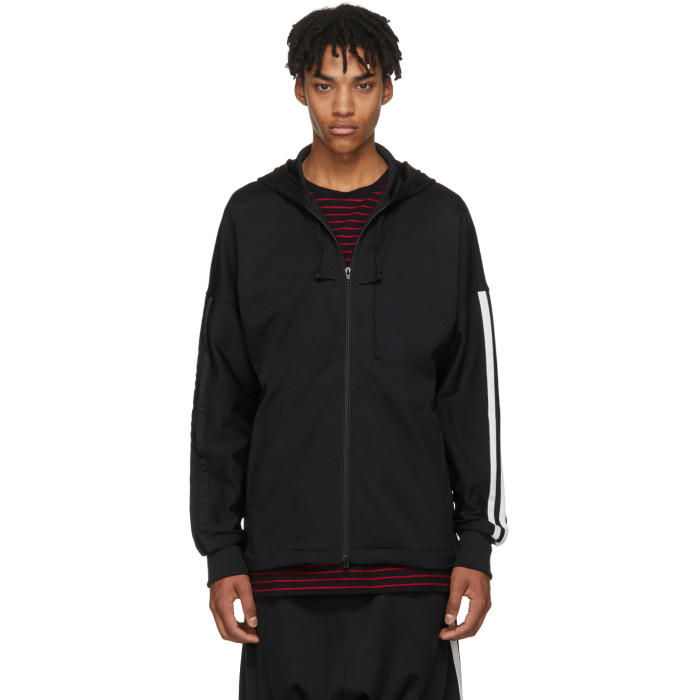 Photo: Y-3 Black Logo 3-Stripes Hoodie