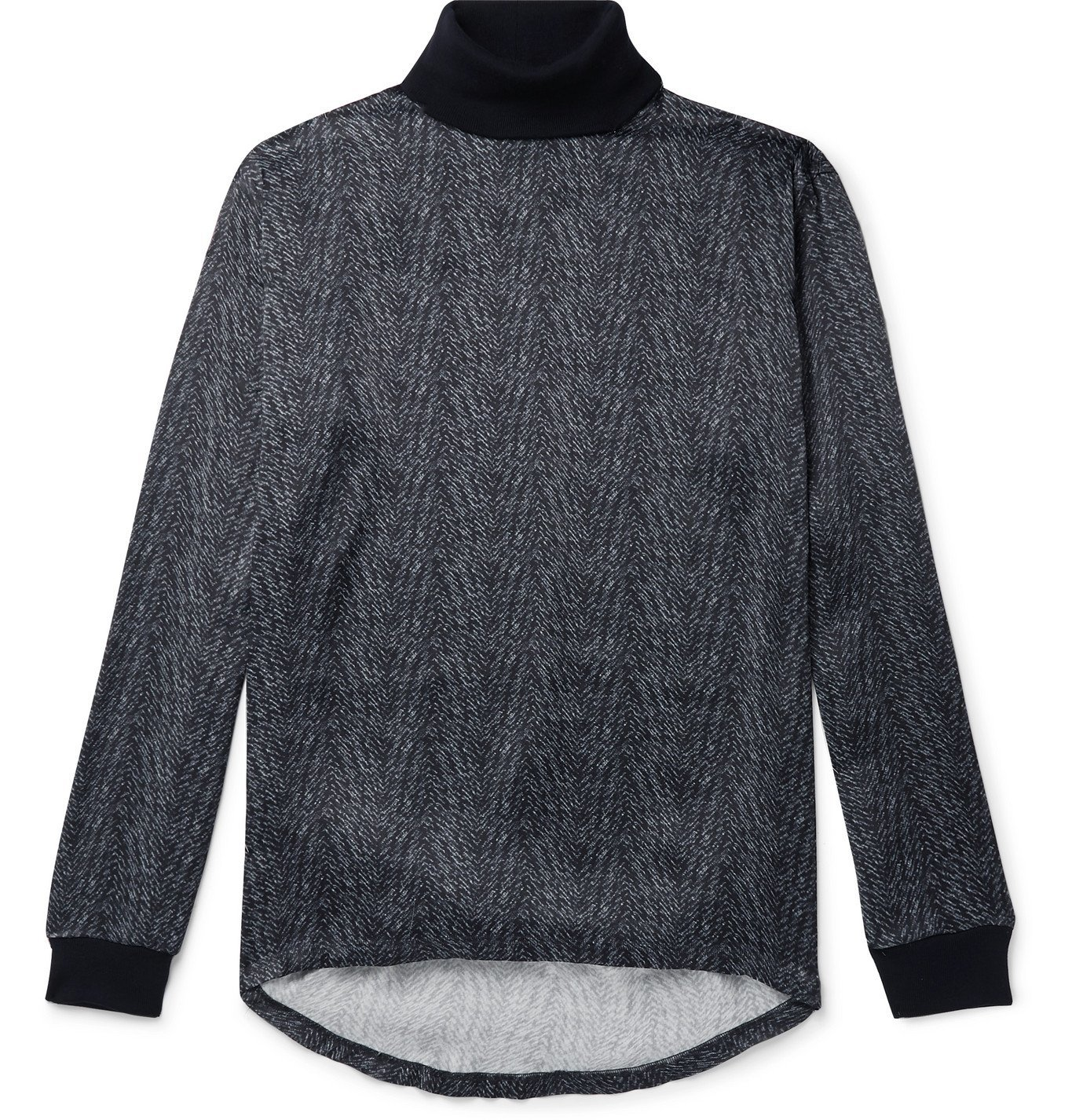Giorgio Armani - Printed Satin and Virgin Wool Rollneck Sweater - Blue