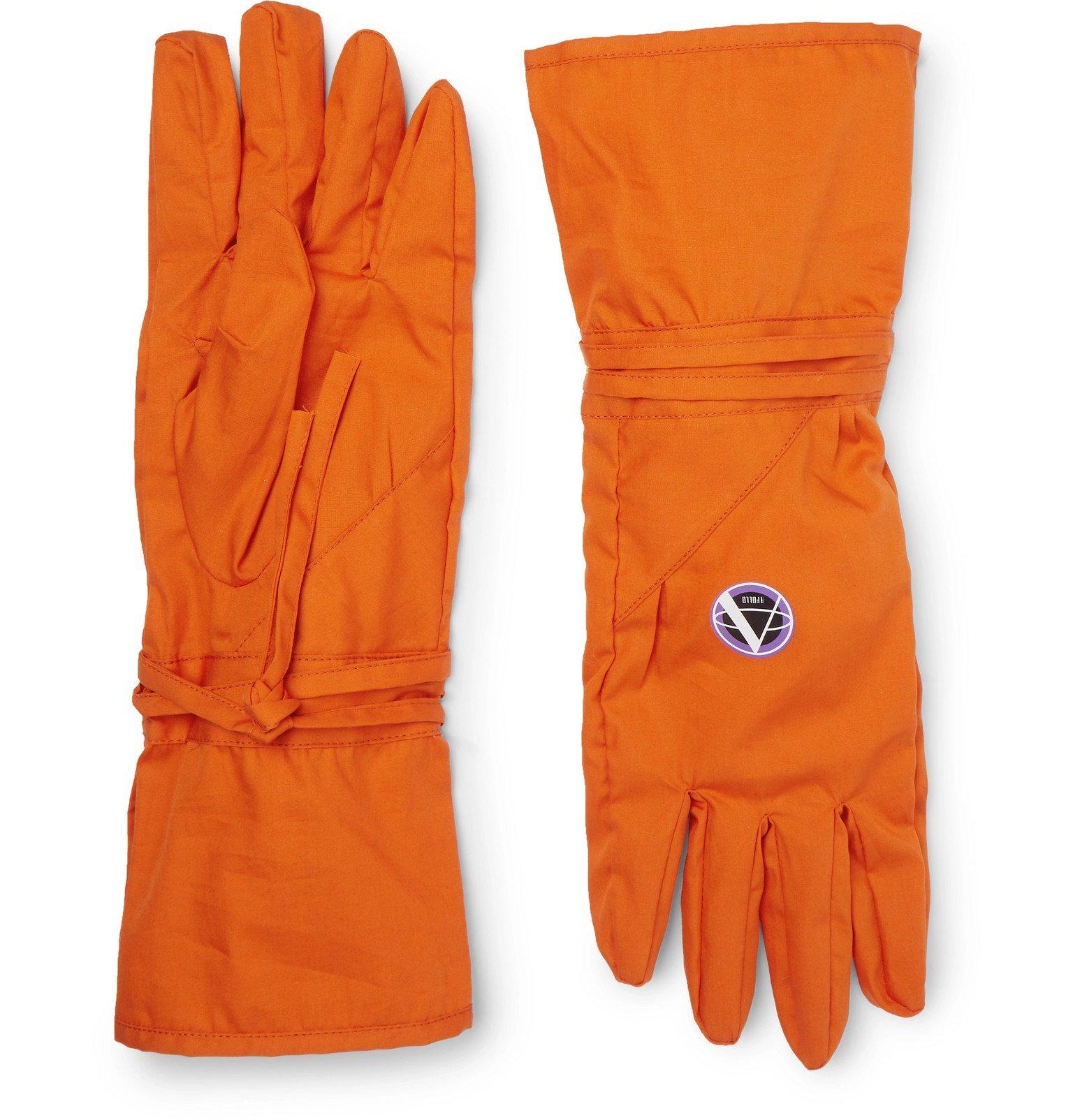 Photo: Raf Simons - Printed Cotton Gloves - Orange