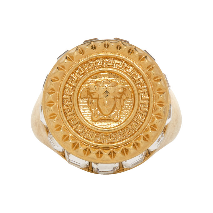 Photo: Versace Gold Crystal Medusa Round Ring