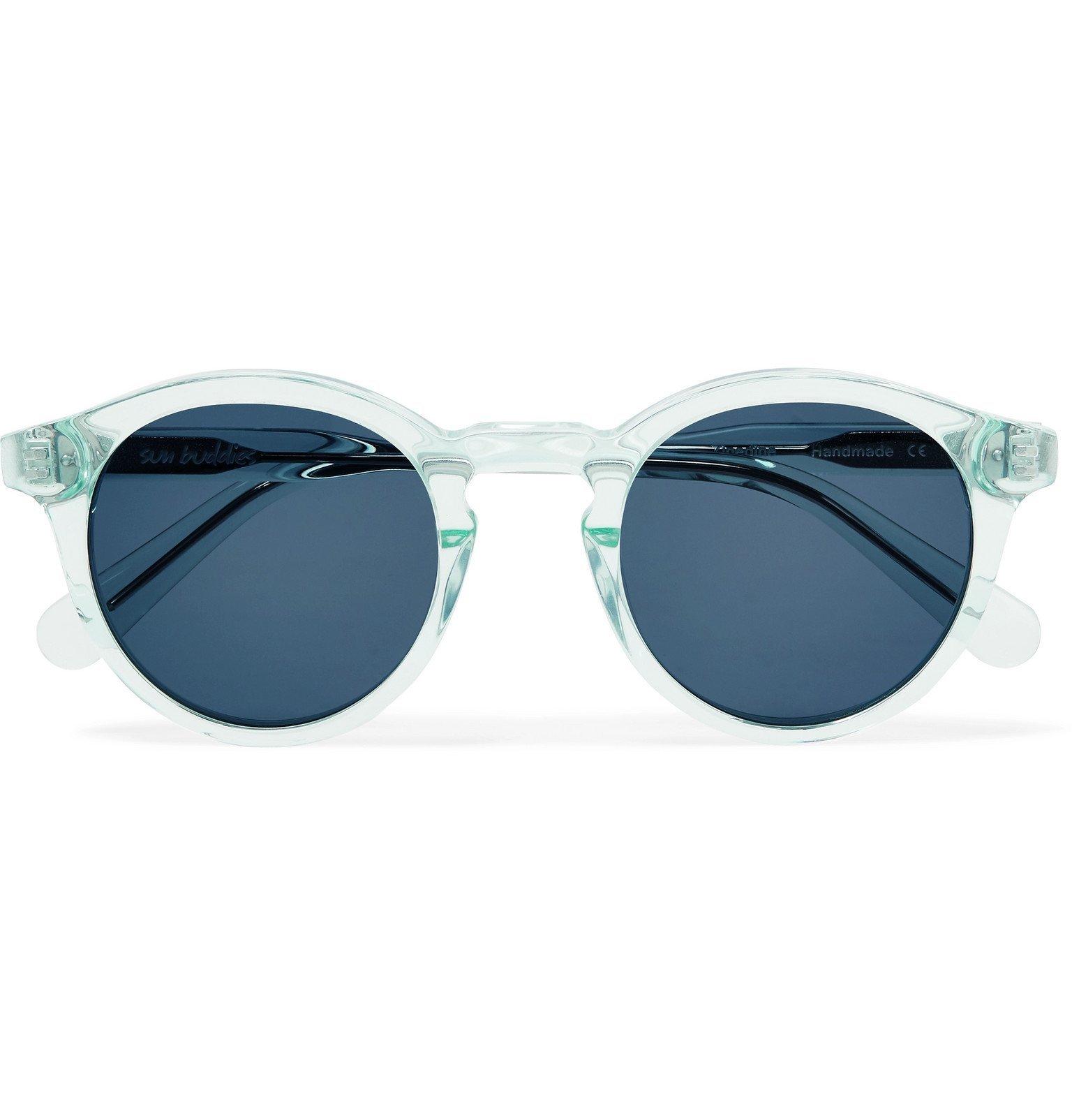 Photo: Sun Buddies - Zinedine Round-Frame Tortoiseshell Acetate Sunglasses - Blue