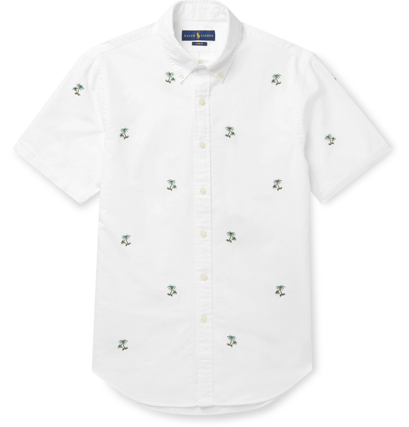 Photo: Polo Ralph Lauren - Slim-Fit Button-Down Collar Embroidered Cotton Shirt - White