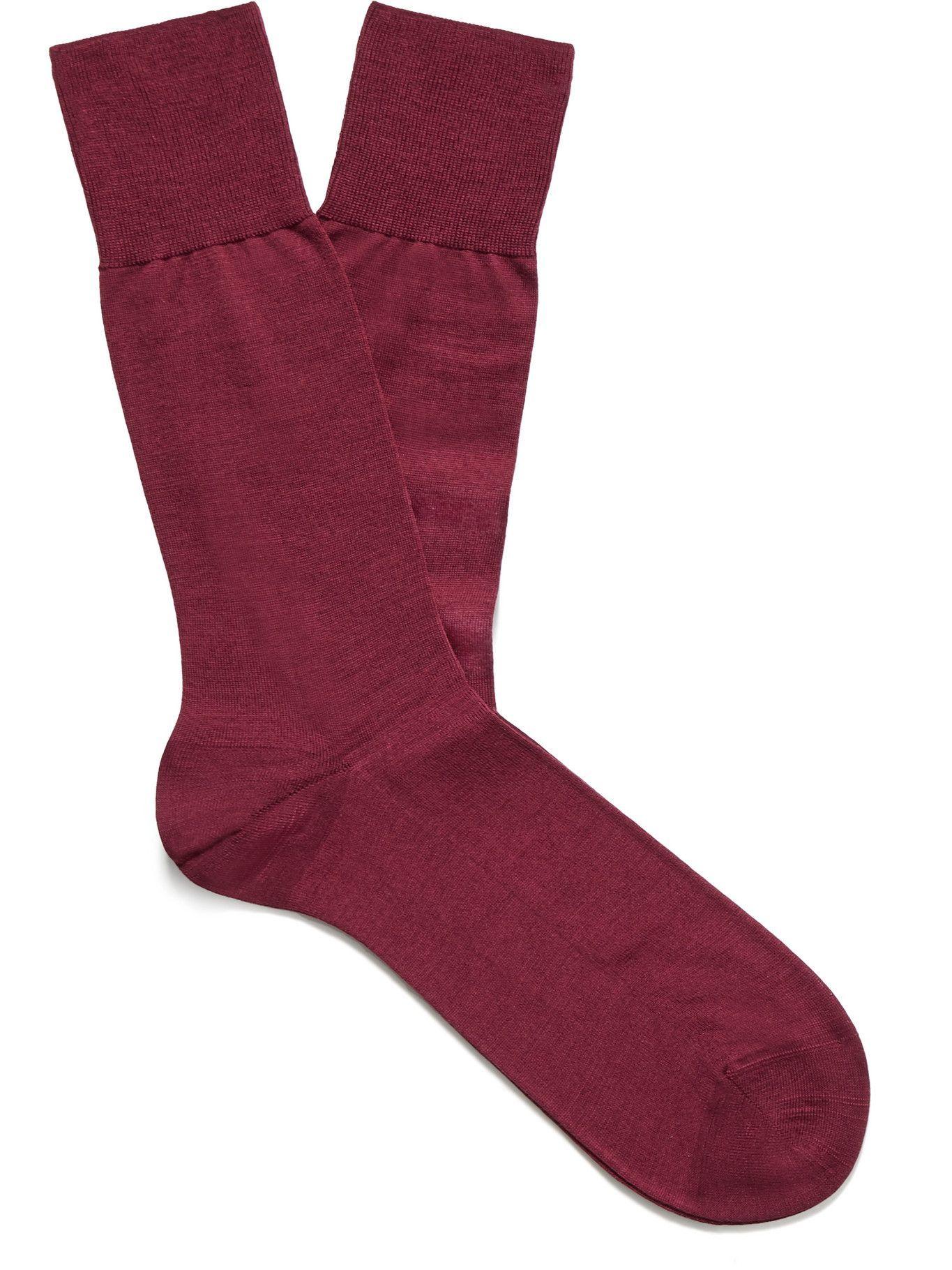 Photo: Falke - No 6 Merino Wool-Blend Socks - Burgundy