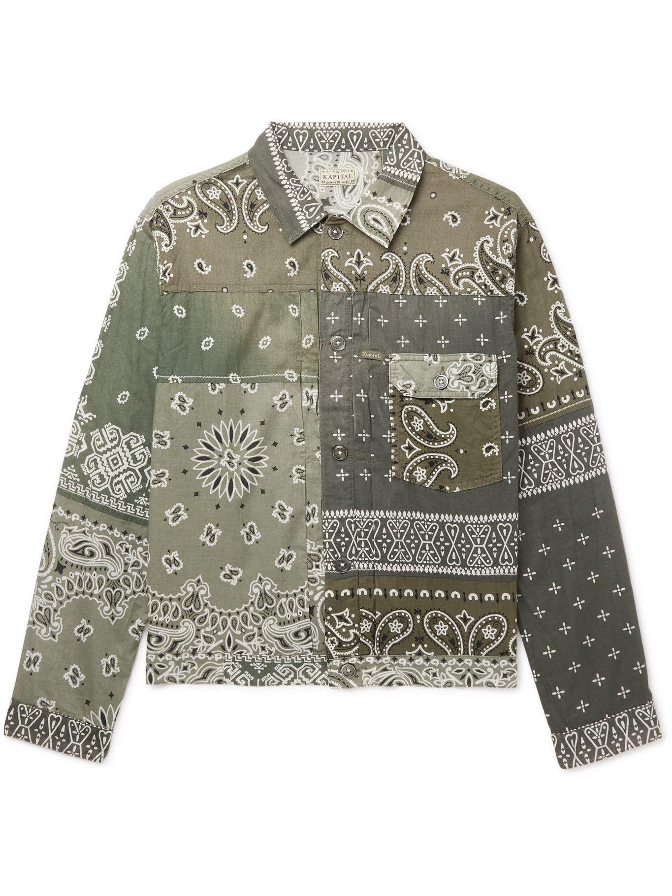 Photo: KAPITAL - Patchwork Bandana-Print Cotton Jacket - Green