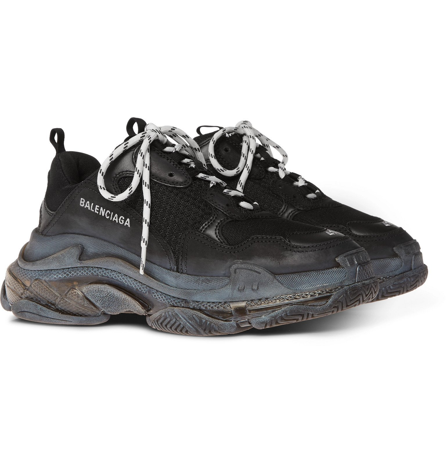 Photo: Balenciaga - Triple S Clear Sole Mesh, Nubuck and Leather Sneakers - Black