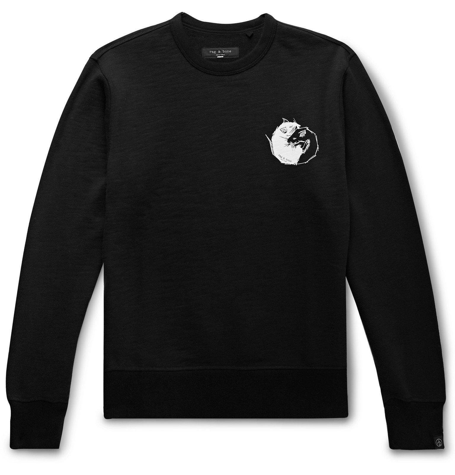 Photo: rag & bone - Printed Loopback Cotton-Jersey Sweatshirt - Black