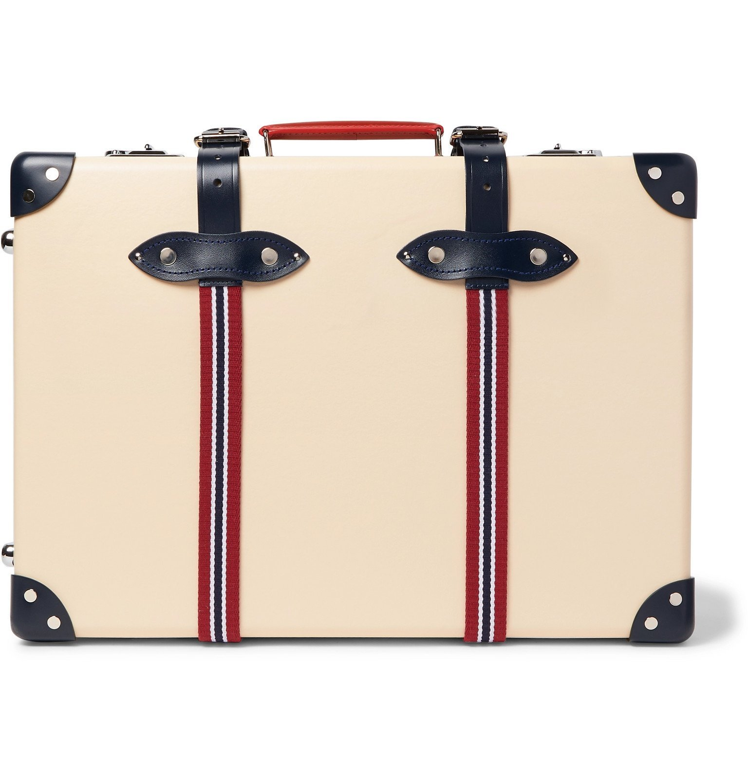 "Photo: Globe-Trotter - St Moritz 20"" Leather and Webbing-Trimmed Carry-On Suitcase - Neutrals"