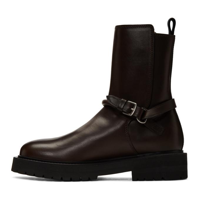 Bottega Veneta Brown Leather Buckled Boots
