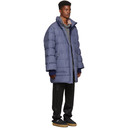 3.1 Phillip Lim Blue Down Striped Oversized Coat
