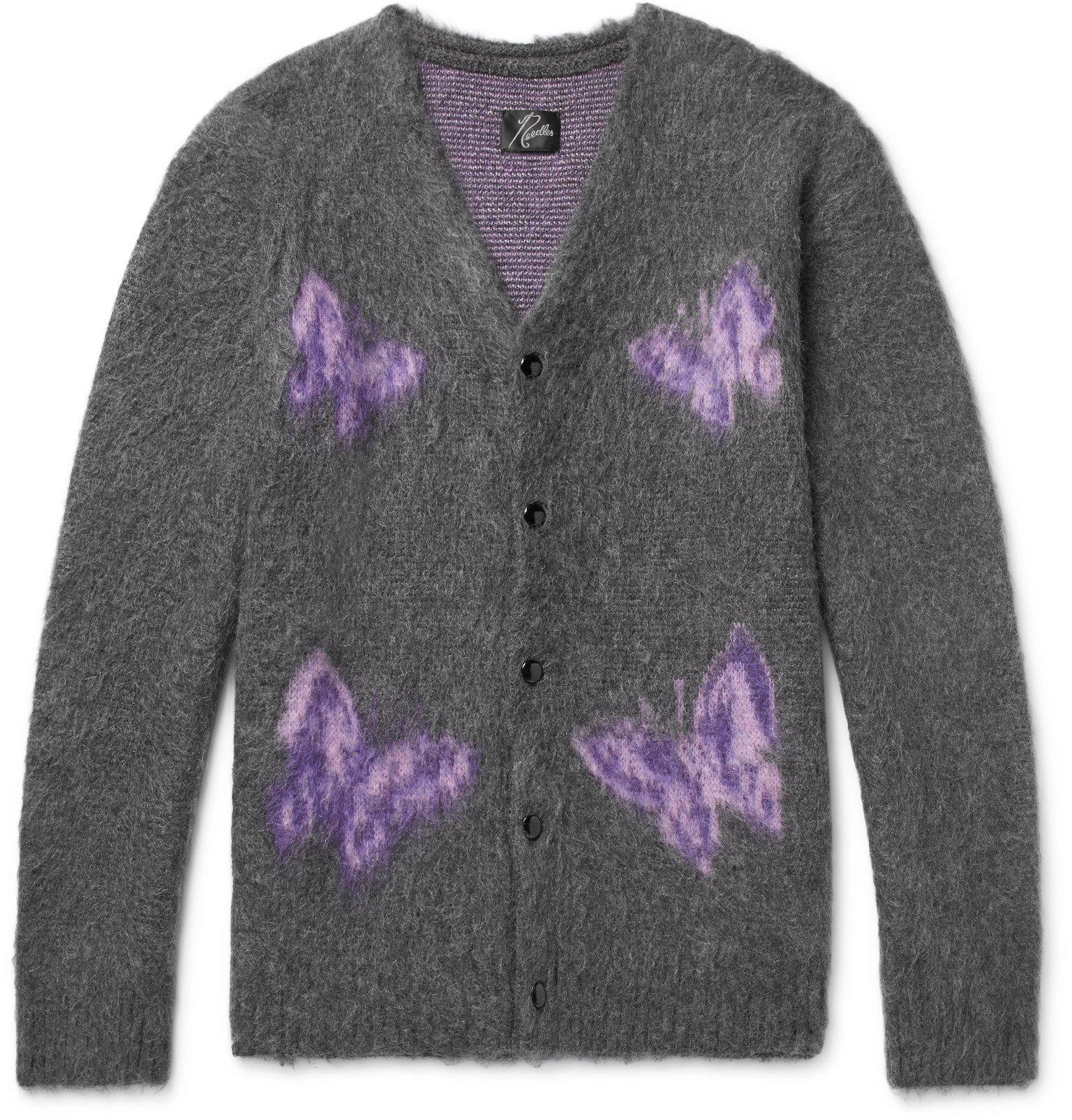 Photo: Needles - Logo-Intarsia Mohair and Wool-Blend Cardigan - Gray