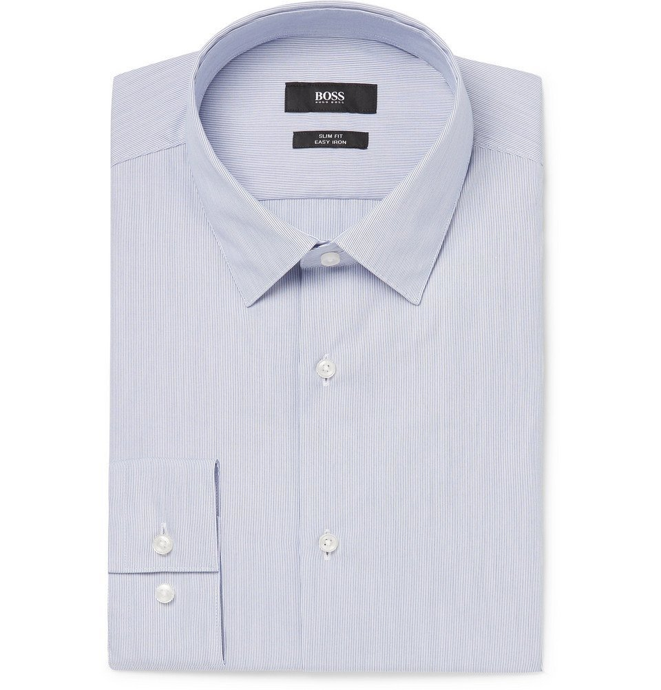 Photo: Hugo Boss - Blue Slim-Fit Striped Cotton-Poplin Shirt - Blue