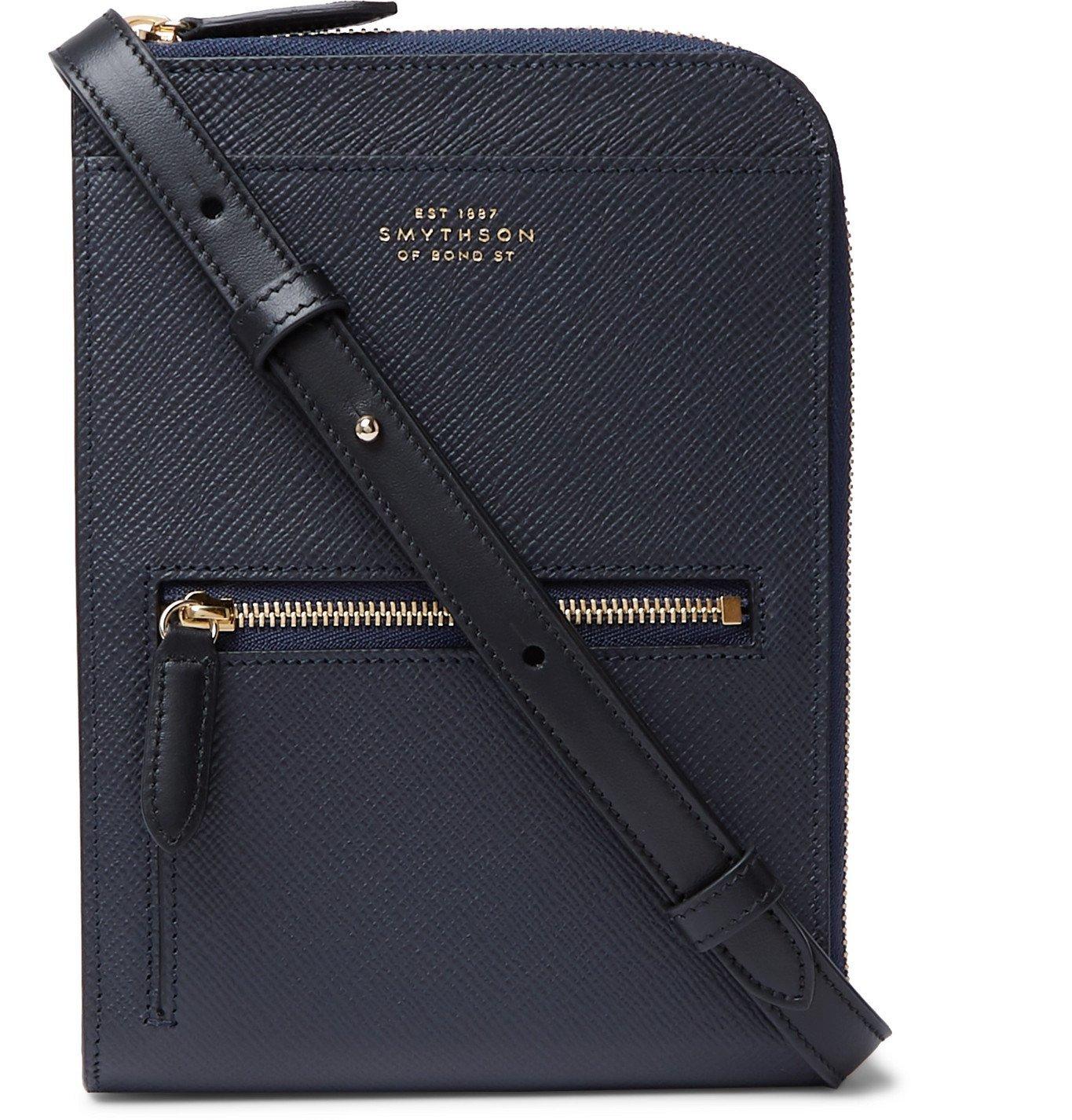 Smythson - Panama Cross-Grain Leather Currency Wallet - Blue