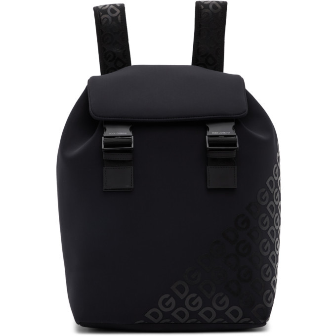 Photo: Dolce and Gabbana Black Neoprene Logomania Backpack