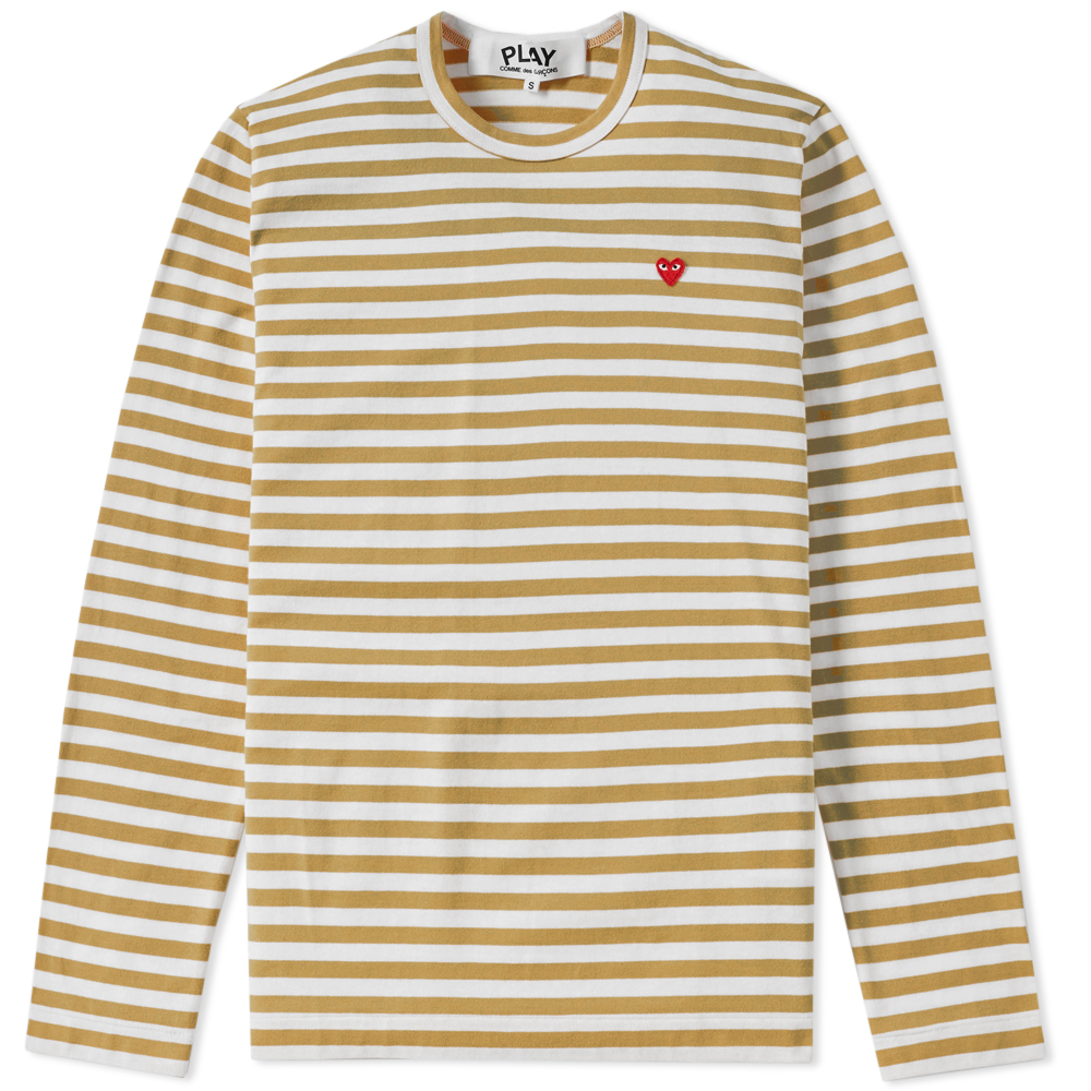 Photo: Comme des Garcons Play Little Red Heart Long Sleeve Stripe Tee Green