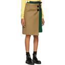 Sacai Beige and Green Wool Skirt