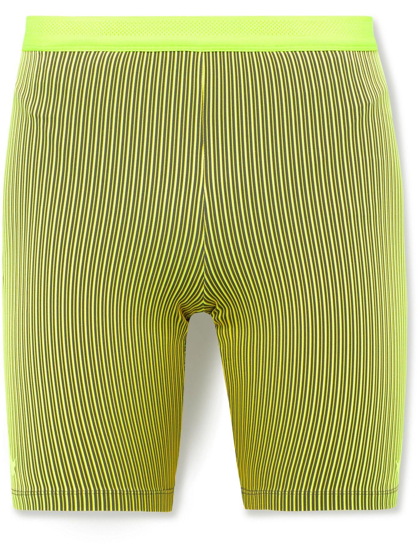 Photo: Nike Running - AeroSwift Striped Ribbed Stretch-Jersey Shorts - Yellow