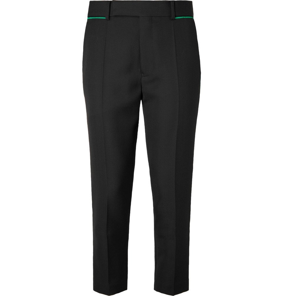 Photo: Haider Ackermann - Black Slim-Fit Tapered Embroidered Virgin Wool Trousers - Black