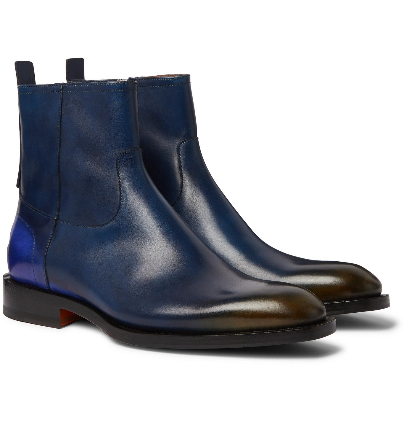 Photo: Santoni - Dégradé Polished-Leather Chelsea Boots - Blue